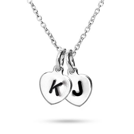 Hand Stamped Double Heart Initial Necklace | Eve's Addiction