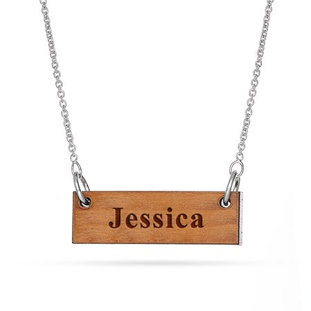 Wood Carved Name Bar Necklace | Eve's Addiction