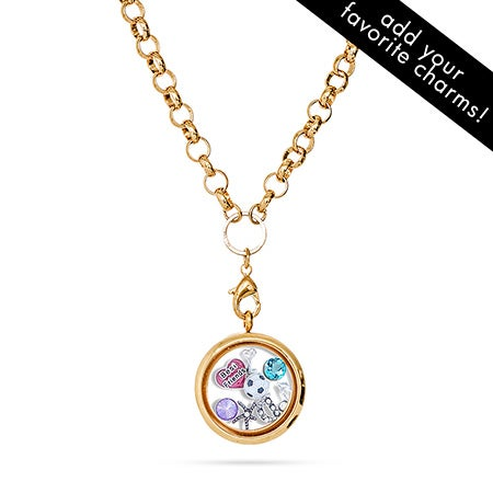 Gold Toggle Chain Floating Charm Locket