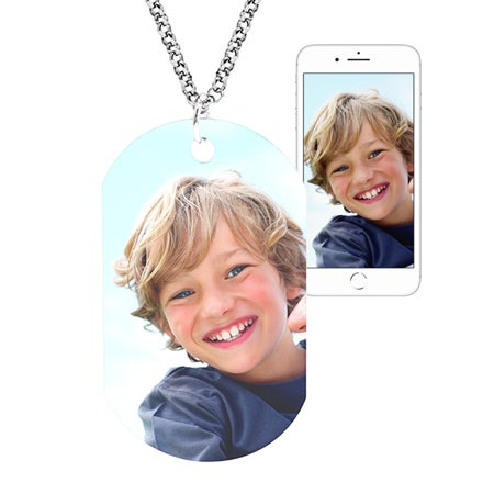 Large Custom Color Photo Dog Tag Pendant