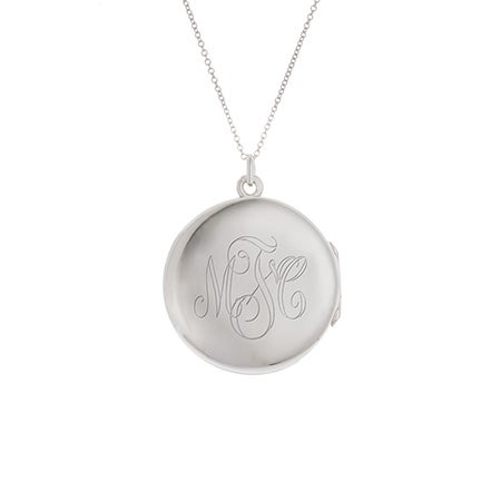 Engravable Monogrammed Silver Locket