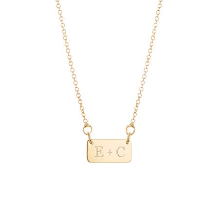 Couple's Initial Bar Gold Necklace