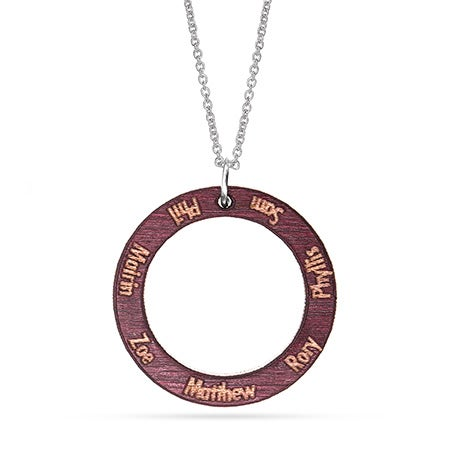 Engravable Wood Carved Name Circle Pendant