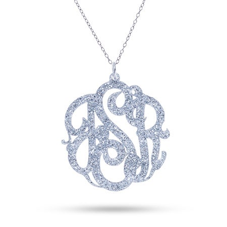 Personalized Glitter Acrylic Monogram Necklace