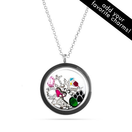 Black Floating Charm Locket Necklace