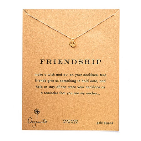 Dogeared Friendship Anchor Gold Dipped Necklace