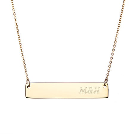 Engravable Gold Vermeil Couples Initial Bar Necklace