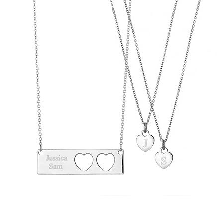 Engravable Mother Daughter 2 Child Name Bar Pendant Set