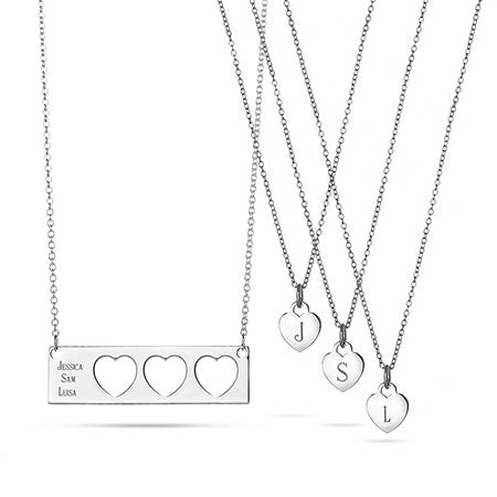 Engravable Mother Daughter 3 Child Name Bar Necklace Set