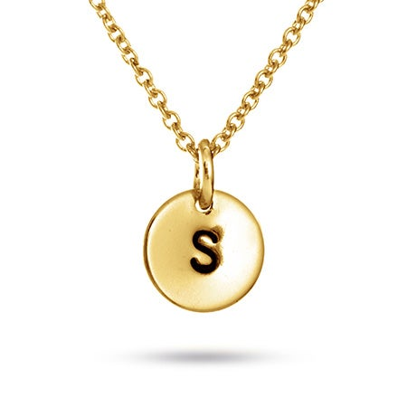Hand Stamped Gold Vermeil Mini Initial Necklace
