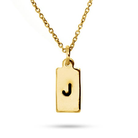 Hand Stamped Gold Vermeil Rectangle Charm Initial Necklace