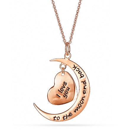 Engravable Rose Gold I Love You To The Moon and Back Necklace
