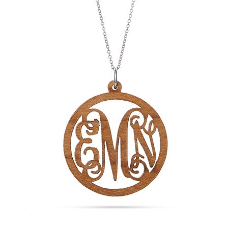Fancy Script Wood Engraved Monogram Necklace