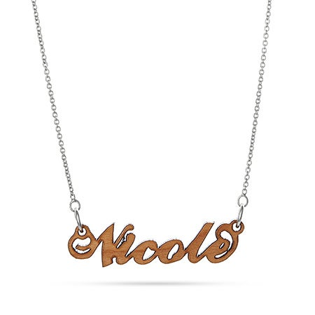 Wood Personalized Name Necklace