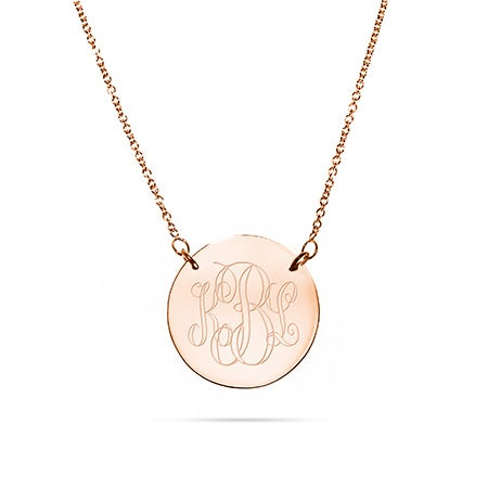 Engravable Rose Gold Plated Disc Monogram Necklace
