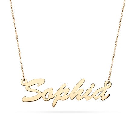 14K Gold Thin Script Nameplate Necklace
