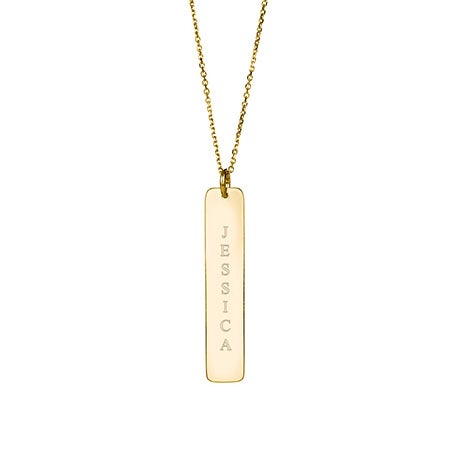 14K Gold Vertical Name Bar Necklace