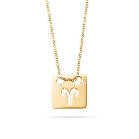Zodiac Cut Out Gold Square Tag Pendant