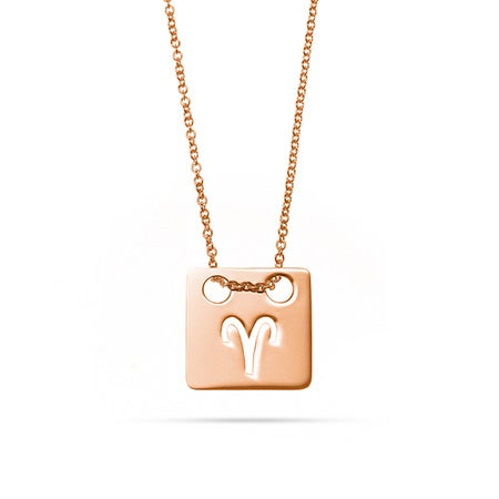 Zodiac Cut Out Rose Gold Square Tag Pendant