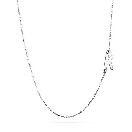 14K White Gold Sideways Initial Necklace