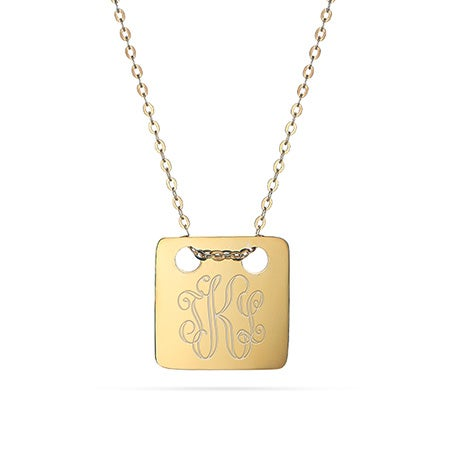 Engravable Gold Monogram Square Pendant