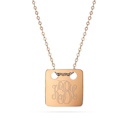 Engravable Rose Gold Square Tag Pendant