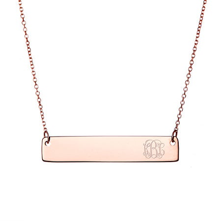 Petite Script Monogram Rose Gold Bar Necklace