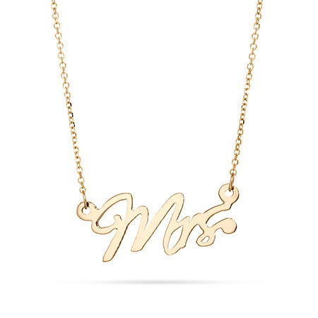 14K Gold Mrs Wedding Necklace