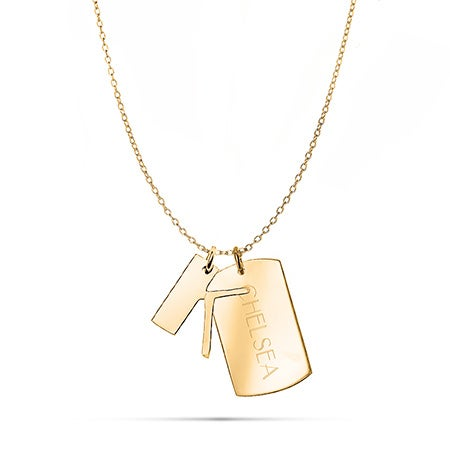 Personalized Gold Initial and Dog Tag Charm Necklace