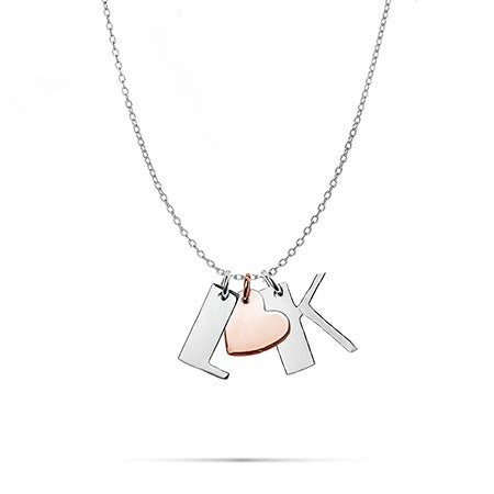 Couples Initial Heart Charm Necklace | Eve's Addiction
