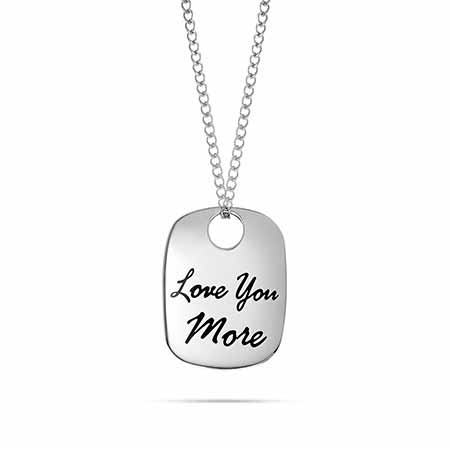 Personalized I Love You More Tag Necklace