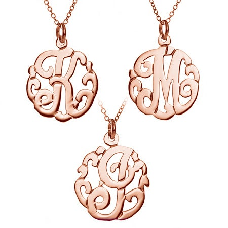 Single Initial Rose Gold Monogram Style Necklace