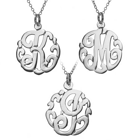 Single Initial Sterling Silver Monogram Style Pendant