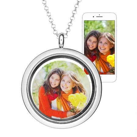 Custom Photo Floating Charm Locket Necklace