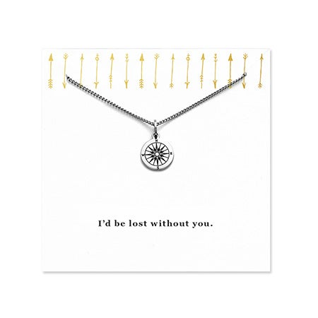 Engravable I'd Be Lost Without You Compass Necklace