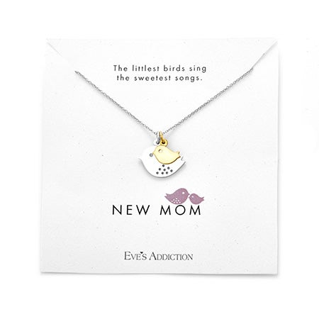 New Mom Baby Bird Sterling Silver Pendant Necklace