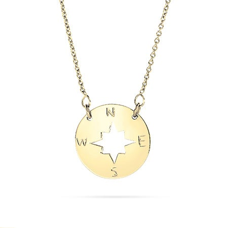 Gold Plated Compass Disc Necklace