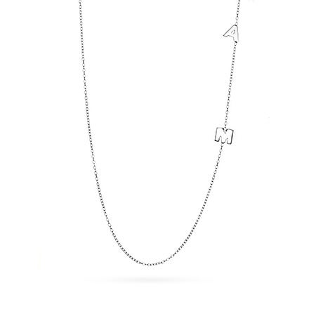 2 Letter Sterling Silver Sideways Initial Necklace