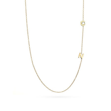 gold vermeil 2 letter sideways initial necklace With 2 letter initial necklace