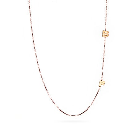 2 Letter Rose Gold Vermeil Sideways Initial Necklace