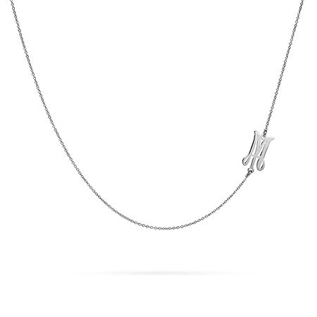 Sideways Script Initial Necklace in Silver