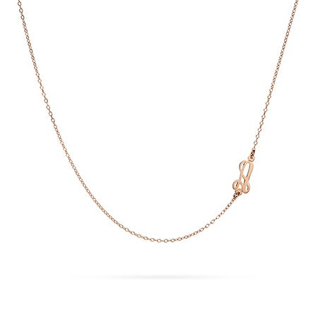 Sideways Script Initial Necklace in Rose Gold