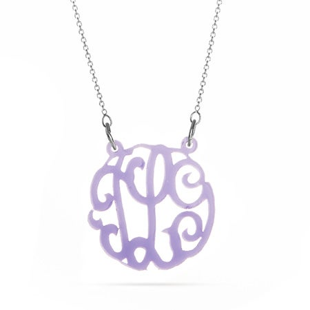 Acrylic Lavender Monogram Necklace
