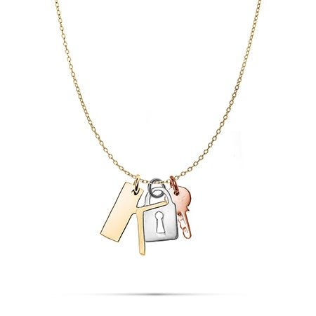 Personalized Initial Lock and Key Charm Necklace