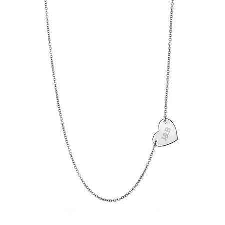 Engravable Sideways Heart Necklace in Sterling Silver