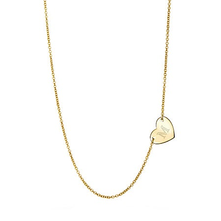 Engravable Sideways Heart Gold Necklace