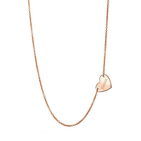 Rose Gold Engravable Sideways Heart Necklace