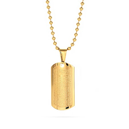 Engravable Gold Lord's Prayer Tag Necklace