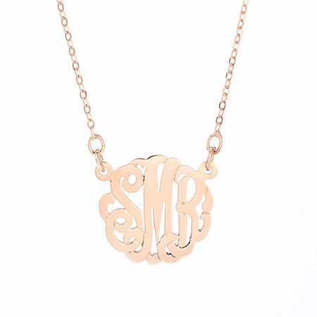 Small Rose Gold Monogram Necklace