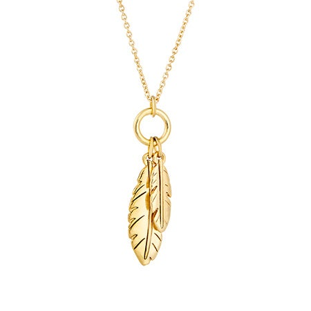 Foxy Karma Feather Gold Charm Necklace